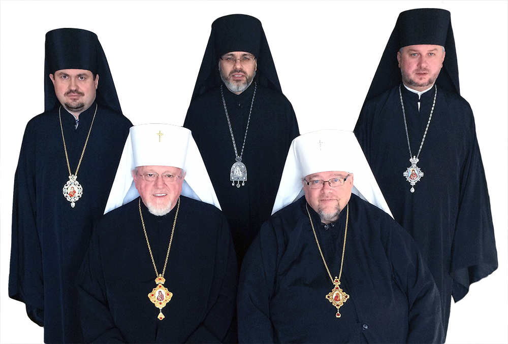 First Row (left to right): † ANTONY, Metropolitan, UOC-USA, † YURIJ, Metropolitan, UOCC Second Row (left to right): † ILARION, Bishop, UOCC, † DANIEL, Bishop, UOC-USA, † ANDRIY, Bishop, UOCC