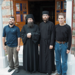 Holy Mount Athos, Holy Monastery of Philotheou: Archimandrite Nikodemos, Hegumen, Rev. Fr. Myroslav, brothers Volodymyr and Dmitry