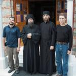 Holy Mount Athos, Holy Monastery of Philotheou: Archimandrite Nikodemos, Hegumen, Rev. Fr. Myroslav, brothers Volodymyr and Dmitry